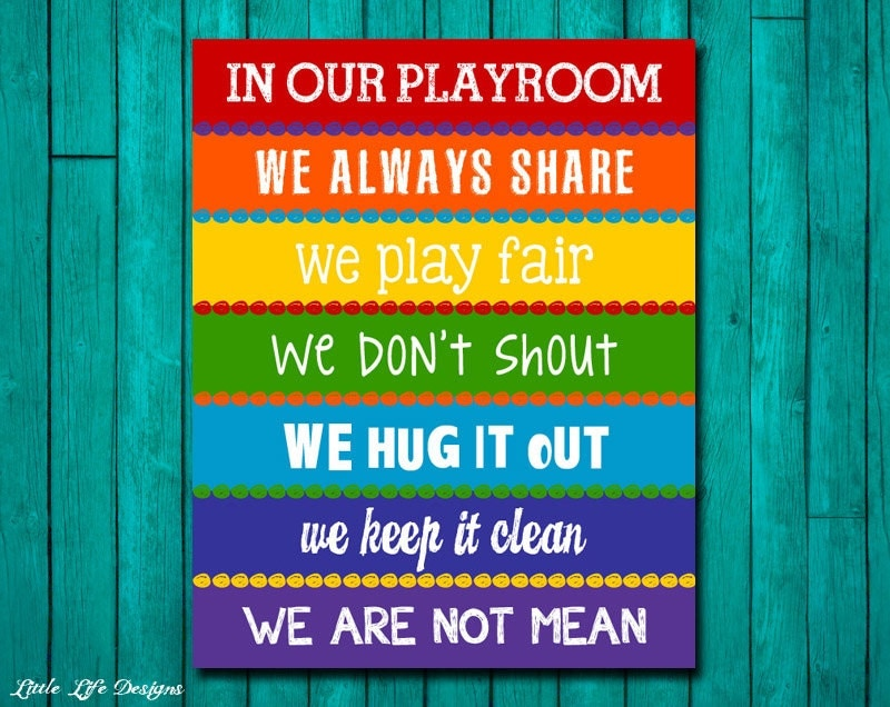 Childrens Wall Art Kids Room Decor Rainbow Playroom Sign
