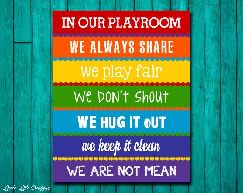 playroom rules sign childrens wall art kids room decor