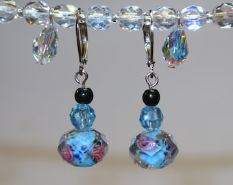 Blue Wild Rose Earrings