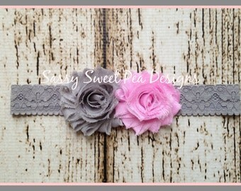 Pink and Gray Shabby Chic Flowers on Gray Lace Headband.. Newborn, Baby, Girls Photo Prop Bow