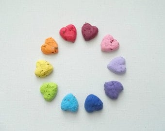 Eco Friendly Wedding Favor Seed Bombs -Heart Shaped Plantable Paper With Wildflower Seed Balls - Your Color Choice