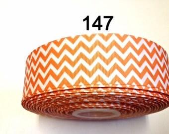 "2/3/5 yard - 1.5""  Orange and White Zig Zag Grosgrain Ribbon Hair bow"