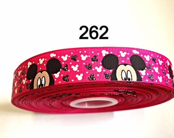 "3 or 5 yard - 7/8"" Glitter Peek A Boo Mickey Mouse Hot Pink Grosgrain Ribbon Hair bow"