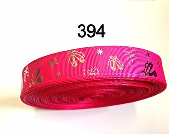 "3 or 5 yard - 7/8"" Silver Foil Ballet Shoe and Bow Hot Pink Grosgrain Ribbon Craft Supply"
