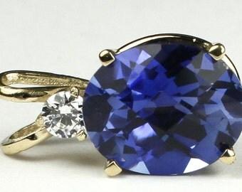 Created Blue Sapphire, 14KY Gold Pendant, P022