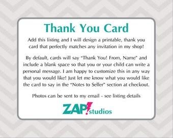 Custom Printable Thank You Card 4x6