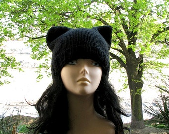 Black Hat pussy Ear Beanie  Hand knitted winter accessories cat lover gift