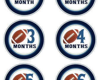 Instant Download - Baby Month to Month Stickers, Football Monthly Birthday Stickers for Baby, Photo Prop Birthday Stickers, Blues