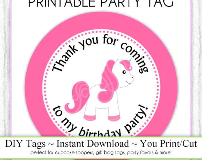 Instant Download - Party Printable Tag, Pink Unicorn Party Tag, Pony Birthday Party Tag, Unicorn DIY Pony Cupcake Topper, You Print, You Cut