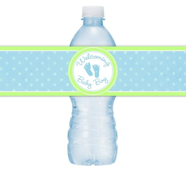 baby boy water bottle labels instant download by delightprintables. Black Bedroom Furniture Sets. Home Design Ideas