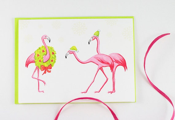 carte-de-noel-flamant-rose-Quebec-Etsy