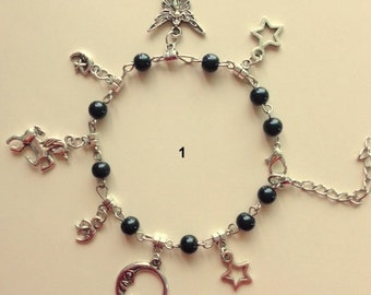 Magic/Wicca Silver And Beads Charm Bracelets or Anklet