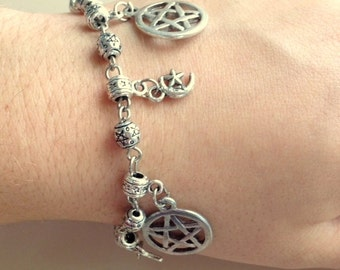 Pentacle And Star Silver and Black Beaded Charm Bracelets/Anklets - Magical Wicca Bracelet/Anklet