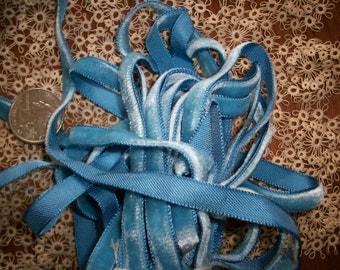 "Antique Blue Horizon Vintage Velvet Ribbon Trim 1/4"" wide Yardage Available Old Store Stock"
