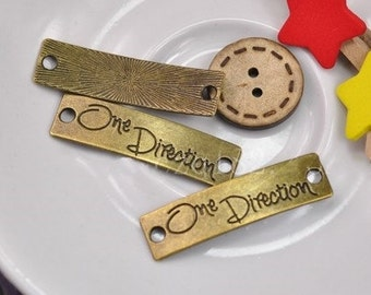 "DIY jewelry""one direction""Charms -30pcs Antique Bronze ""one direction"" Connector Charm Pendants 40x10mm"