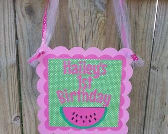 Pink & Green Watermelon Door Sign