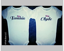 Funny Twin Baby Clothes, Funny Twin Shirts, Twin Outfits Boy Girl, Bonnie and Clyde, Twin Clothing Boy Girl, Sibling Shirts, Liv & Co.