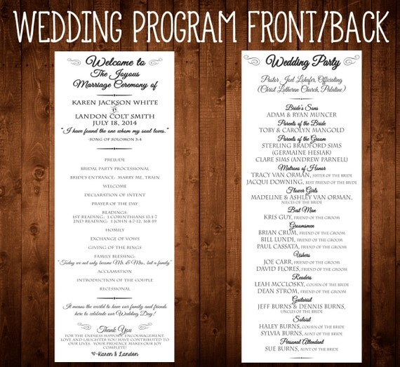 Items Similar To Wedding Program 4 25x11 Front And Back Elegant