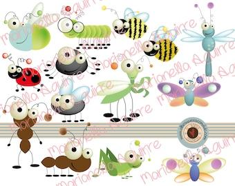 cute bugs .CLIP ART .DIGITAL.