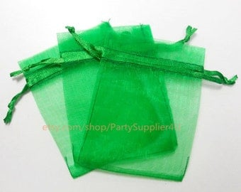 organza favor bags 100 emerald green organza gift bags with satin in sheer