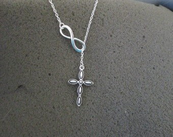 Infinity and Cross Lariat Necklace