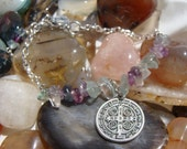 """Rainbow Fluorite """"Stability"""" coupled with St. Benedict natural stone bracelet"""
