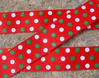 """3 yards Christmas Dots grosgrai hair bow ribbon 7/8"""" Red White and Green Polka Dots Printed Ribbon"""