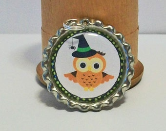 Fun Halloween Witch Owl  Flattened Bottlecap Pendant Necklace