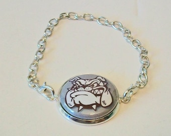 New Gray and Maroon Bulldog Mascot School Spirit Silver Chain Fashion Bracelet 3 Sizes Available