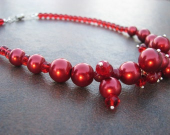 Red Pearl Cluster Necklace