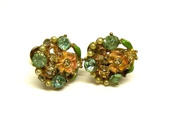 Enamel & Rhinestone Vintage Screwback Earrings