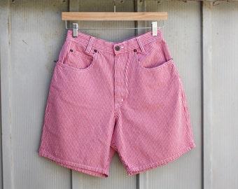 Red Gingham Shorts - High Waist Denim Shorts - Vintage Checkered Shorts - 90s Grunge Shorts - Retro Plaid Shorts - Hipster Tartan Shorts