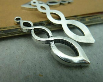 10 pcs 11x37mm Antique Silver Vintage Long Curved Fire Flame Symbols Charms Pendants