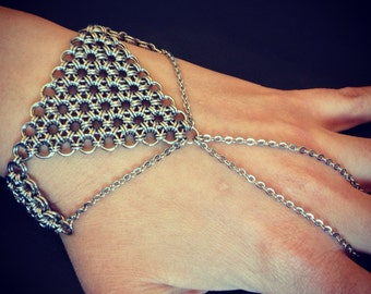 Gothic Medieval Renaissance Stainless Steel Silver Chainmaille Slave Bracelet