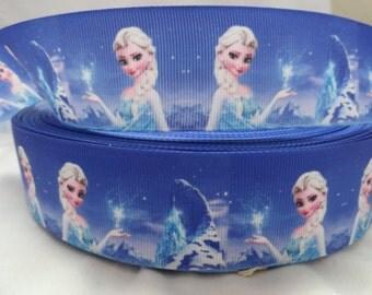 "1.5"" Princess Frozen girl Printed Grosgrain ribbon"