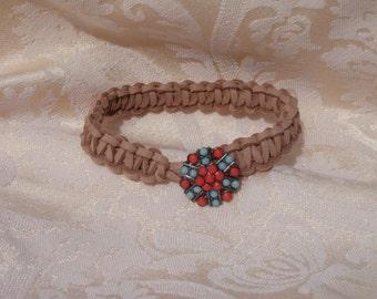 Hand-made braided leather bracelet