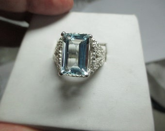 Mens 5.6ct genuine mined aquamarine fine sterling silver handmade ring