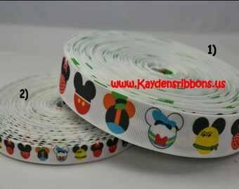 3 yards Mouse Heads - 3/8 inch or 7/8 inch - CHOOSE DESIGN - Printed Grosgrain Ribbon