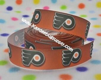 3 yards Philadelphia Flyers - 7/8 inch - Printed Grosgrain Ribbon