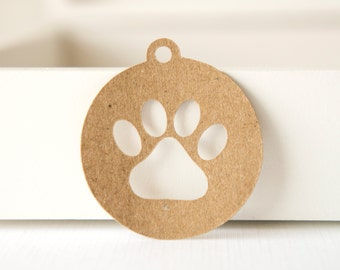 Round Tag with Paw Print Cut Out- Gift Tag- Pet tag (30 tags)