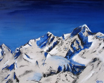 """Mountain Painting Art Print Giclee Limited Edition """"Sapphire"""" 10x12"""""""