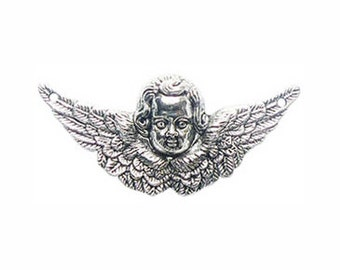 5 St Raphael Silver Angel Charm with Spread Wings 23x49mm by TIJC - SP0185