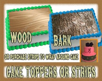 Wood or Bark toppers or strips for sides, edible paper sugar sheets. pattern print decal wraps birthday wedding oak pine cupcakes top