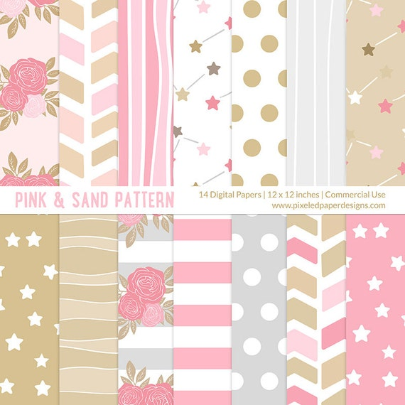 "Pink Sand Floral & Stars ""DIGITAL PAPER PACK"" - For scrapbooking, card, photography, wedding, invites, background, texture."