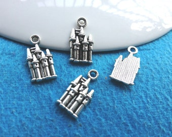 30pc antique silver castle charms pendant 19mmx10mm