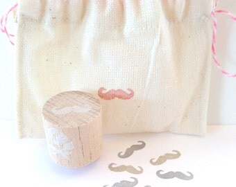 Hand Carved Mini Moustache Stamp