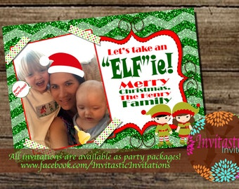 "Custom Photo Christmas Cards - Photo Christmas Cards, Let's Take an ""Elfie""  - Printable Holiday Cards - Selfie Christmas Card"