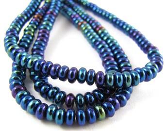 Iris Blue Czech Glass 4mm Rondelle Beads 100pc #584