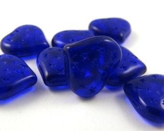 Cobalt Blue  Stars 14mm Heart Czech Glass Beads 10pc #2107