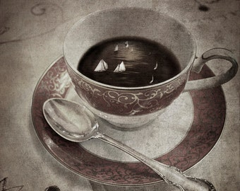 Midnight Tea Party - Matted Print, Home Decor, Surreal, Whimsical, Fine Art Photography